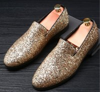 Wholesale Shoes For Gold Sequin Dress - Designer Men Glitter Gold silver Sequins pointed Shoes Loafer For Male Homecom Party Dresses wedding shoes moccasins Groom shoes