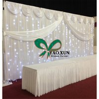 Wholesale Led Backdrops Curtain - 10ft*20ft Wedding Backdrop Curtain\ Stage Background Drape With The Led Lights