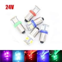 Wholesale Warm Led Bulbs Ba9s - 1X Car bulbs 12v 24V 6.3v 6v BA9S T11 T4W 5 5050 SMD 5 LED DRL Clearance License Plate Lights Side Turn Signals Marker Lamp Pathway lighting