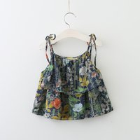 Wholesale Girls Tees Bows - Everweekend Girls Ruffles Floral Print Bow Tees Cute Baby Western Fashion Summer Tops