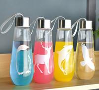 copas de pinguino al por mayor-Botella de vidrio de verano creativo manual minimalista de mano vasos de agua Ronda de gota de agua en forma de pingüino ballena águila ciervo taza 30ss E1