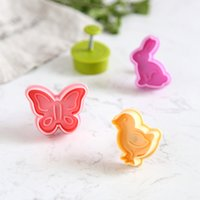 Wholesale Butterfly Eggs - Wholesale- 4 pcs set Butterfly,Rabbit,Chick,Easter Egg Shape Animal Plastic Fondant Cookie Cutter Biscuit Cake Mold Cake Decoration MK1765