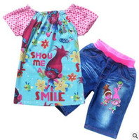 Wholesale Jean Suits Wholesale - Trolls Kids Clothing Set Short Sleeve Tops And Jean Pants Bottoms Clothing Suit For Girls Wear Costumes Clothing Sets Christmas