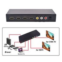 Wholesale orange adapter for sale - Group buy Freeshipping P HDMI Splitter X1 Switcher Converter Adapter with CVBS L R Output HDMI input output Switcher with US power adapter