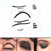 Wholesale top eyeliner template resale online - Smokey eye look Cat Eye Smokey Eye Makeup Eyeliner Models Template Top Bottom Eyeliner Card Auxiliary Tools Eyebrows Stencils