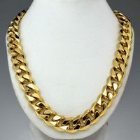 Wholesale mens heavy gold chains - Heavy Mens 18k gold filled Solid Cuban Curb Chain necklace N276 60CM 50cm
