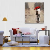 Wholesale People Oil Painting Canvas - Framed modern rain landscape picture two people walk under the red umbrella,Hand Painted Wall Decor Art Oil Painting Canvas Multi Size Ls014