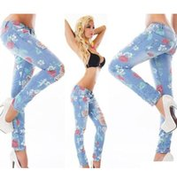 Wholesale Women Graffiti Jeans - 2017 Fashion Spring Women Ripped Jeans With Acrylic Diamond Light Blue Graffiti Jean for woman Denim Pants Melinda Style