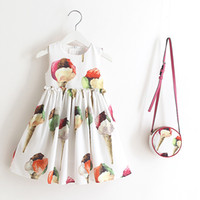 Wholesale Ice Cream Print Dress - Girls princess outfits children printed cotton pineapple rose ice-cream sleeveless pleated dress+bag 2pcs sets kids fashion clothing C0329