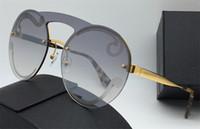 lunettes de soleil monture ronde transparente achat en gros de-Femmes Designer Lunettes De Soleil Frameless Ronde Vintage Cadre Top Qualité Transparent Clair Lentille UV400 Protection lunettes De Mode Populaire Style65T