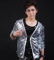 Wholesale Rock Stage - Silver rock men suit designs personalized stage costumes for singers men sequin blazer dance clothes jacket style dress slim