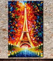 Wholesale romantic modern art oil paintings online - Pure Handicrafts Romantic City Paris Eiffel Tower Landscape Modern Abstract Art Oil Painting Home Decor On Canvas size can be customizd