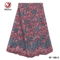 Wholesale High End Fabric Wholesale - Nigerian tulle lace high end design net fabric floral french lace fabric african party use lace KF-188