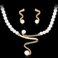 Wholesale Women S Earrings Gold Plated - Fashion Gold Color Imitation Pearl Chain Necklace and Earrings Sets Women Wedding Africa Nigeria S-shaped Jewelry Sets
