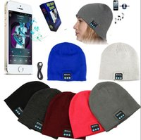 Wholesale Cap Headphones - Bluetooth Beanie Soft Warm Music Cap Stereo Wireless Hat Headphone Headset Speaker Microphone Handfree With Package OOA2980