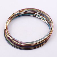 Wholesale Memory Wire Screw - Wholesale Fashion Mixed Copper Memory Wire Necklace Choker Cords,1MM 18 Inch Steel Chain Cord Necklace Screw Clasp