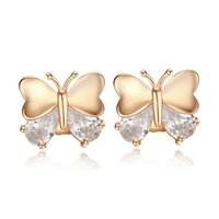 Wholesale Kids Butterfly Earrings - Small Deisgn Sweet Babies Kids Jewelry 18K Yellow Gold Plated Top Quality CZ Butterfly Stud Earrings for Children for Women