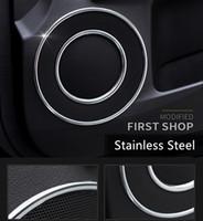 Wholesale Car Loudspeaker Horn - 8pcs Stainless Steel Car Door Stereo Loudspeaker Circle Trim Frame Interior Accessories Horn Ring Decal For Lexus ES 2012-2015