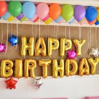 letras de festa de aniversário de balão venda por atacado-Novas Design Balões atacado para o partido de aniversário de criança de 16 polegadas letras do balão cor de rosa azul Ouro Prata Letters Balões Decoração do partido