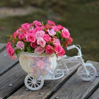 tissage de vase achat en gros de-Vase fleurs artificielle soie fleur panier ensemble pour la décoration de bureau à domicile Float costume tisser une variété de couleurs 16qb J R
