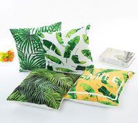 подушечки для подушек оптовых-Имитация шелковой ткани зеленый лист шаблон наволочка цифровой печати бытовой наволочка Home decor чехлы