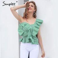 Wholesale One Shoulder Women Top - One shoulder blouse shirt women tops Summer irregural striped shirt blouse chemise femme Elegant ruffles zipper blusas HLA009