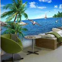 Wholesale nature print paper - Wholesale- Custom 3d photo wallpaper Palm beach scenery sea beach sofa TV background mood enjoy nature mural wall paper for living room