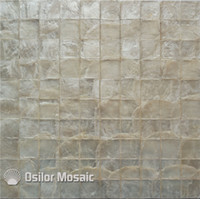 Wholesale pearl white mosaic wall tile resale online - square pattern white color capiz shell mother of pearl mosaic tile for living room wall tiles CS06