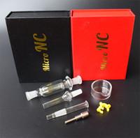 nails tips para venda venda por atacado-Venda quente 10mm Mini Micro NC Kit com Titanium Ponta Prego Cinza Catcher Dab Tubos De Vidro De Palha De Vidro Bongs Grande Venda