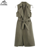 Wholesale Wholesale Capes For Women - Wholesale- 2016 Fashion Women Coat Sleeveless Waterfall Cape Long Cardigan Jacket Coat Windbreak Summer Solid Long Coats For Women High-Q