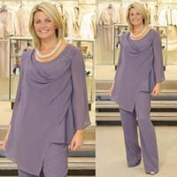 vestido de noche morado talla 12 al por mayor-Luz púrpura madre de la novia trajes de pantalón de manga larga más tamaño gasa más tamaño vestido de noche para la boda invitado barato