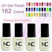 Wholesale Cheap Nail Paints - Wholesale-4pcs Cheap Nail Lote Colored Gel Nail Polish Lucky 162 Colors 5ML Esmalte Nail UV Resin Spray Gel Paint Varnish Bluesky Smalti