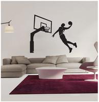 ingrosso basket adesivo rimovibile-Nuovo arrivo 76 * 62 cm giocatori di basket adesivi murali in PVC rimovibile sport adesivo murale decorazione della casa per la stanza del ragazzo