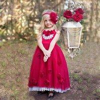 ingrosso mano di fiore rosso della ragazza-2019 Red Vintage A Line Flower Girl abiti gioiello senza maniche alla caviglia con abiti fatti a mano Pageant Dress Dress per Communion DTJ