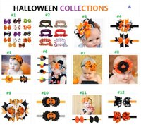 Wholesale Pumpkin Headbands - 48 choices Halloween day decoration kids baby girl headband hair barrettes hair pin cliper pumpkin bat bows knot ribbons hair belt
