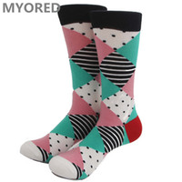 Wholesale Wholesale Argyle Socks - mens happy socks diamond art spell optic color argyle style womens brand colorful happy socks 100pc DHL free shipping