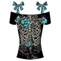 Wholesale Summer Tshirt Fashion Tops - Wholesale- 5XL plus size 3D printed skull tshirt Women black off shoulder bowknot t shirts Summer crop top Femme fashion boat neckline tops