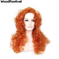Wholesale Brave Merida Wig - WoodFestival cosplay wig Animated brave movie princess merida wig anime heat resistant fiber hair long orange wigs curly synthetic wigs