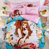 Wholesale Bedding Sets For Girls Cartoons - Beautiful Girl Printed Cartoon Style Full   Queen   King Size 100% Cotton Bedding Set for children
