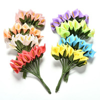 12pcs Mini Espuma Calla Handmake Artificial Flower Bouquet Decoración de la boda DIY Wreath Gift Box Scrapbooking Craft Fake Flower