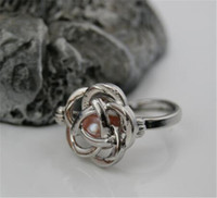 Wholesale 925 Silver Rose Flower Ring - 925 Silver Plated Pearl Cage Charm Ring Hollow Out Rose Heart Fish Flower Oyster Pearl Lockets Ring Adjustable Fine Jewelry Good Gift A239