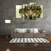 Wholesale Picture Frame Wall Modern - 4 Pieces Wolf Canvas Prints Wall Art Picture for Home Decor Wolf Pine Trees Forest Animal Paintings Print Modern Artwork with Wooden Framed