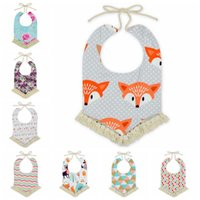 Wholesale Newborn Baby Towels - 12 Styles Baby Bandana Bibs INS Burps Cloths Newborn Tassel Saliva Towels Infant Cotton Bibs Scarf Kids Cartoon Fox Dot Burp CCA6990 30pcs