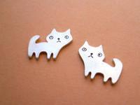 Wholesale Cat Earrings For Girls - Animal Stud Earrings For Women Girls Scrub Cute Kitten Cat Earings Sterling-silver-jewelry jl-169