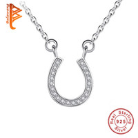 Wholesale Sterling Silver Initials - Belawang 100% 925 Sterling Silver Pendant Necklaces Cubic zirconia Crystal Horseshoe Letter U Shaped Necklaces For Women Wedding Jewelry