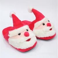 Wholesale kids christmas slippers - 28cm Santa Claus Slippers Christmas Soft Home Slippers Xmas Indoor Unisex Shoes Christmas Plush Kids Slipper 2pcs pair CCA8244 100pairs