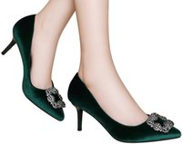 Wholesale Elegant Career Dress - Elegant Green Kitten heel Party Pumps Sexy Women's Spring Pointed toe black color high heel Slip-on Dress shoes in 34-39