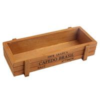 Wholesale Wood Desktop Box Organizer - ASLT Retro Wooden Multifunctional Storage Desk Box For Flowers Plants Desk Organizer Home decoration