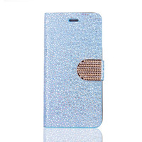 Wholesale Case Chrome Metal Iphone - Diamond Bling Chrome Glitter Wallet Leather Flip Pouch Case For Samsung Galaxy S8 S7 S6 Edge Iphone 7 I7 6 6S Plus Stand Cover Phone 150pcs
