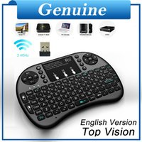 Großhandel- [echte] Mini Rii i8 + 2.4G Wireless Keyboard RF Qwerty Touch Pad Maus Hintergrundbeleuchtung Combo Mini PC Laptop Tablet Android TV-Box
